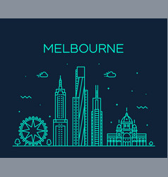melbourne big city skyline australia linear vector image