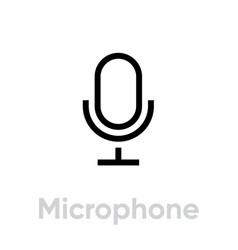 microphone phone editable line vector image