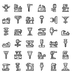 milling machine icons set outline style vector image