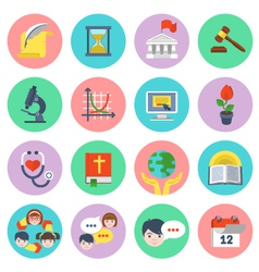 Modern Flat School Icons Set vector image