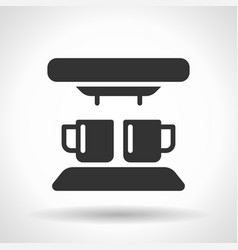 Monochromatic coffee machine icon with hovering vector