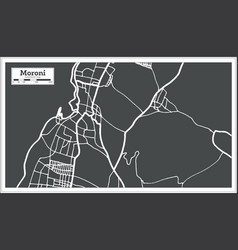 moroni comoros city map in retro style outline map vector image