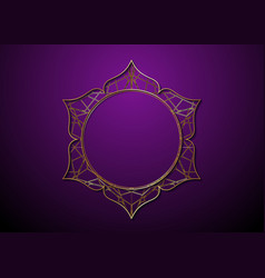 mystic lotus gold frame logo icon golden mandala vector image