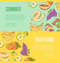 Natural summer fruits flyers set vector