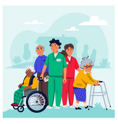 Nursing home concept group elderly people and vector