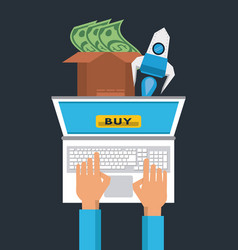 online shopping from laptop vector image
