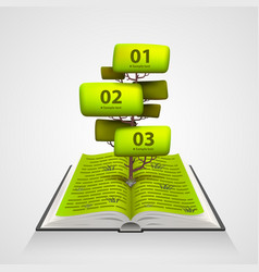 Open book with a tree numbering vector