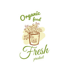 Organic food fresh product badge vector