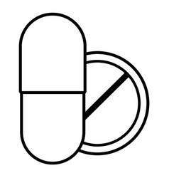 pill and tablet icon outline style vector image