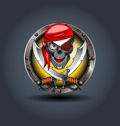 pirate rusty iron rounded badge icon for uigame vector image