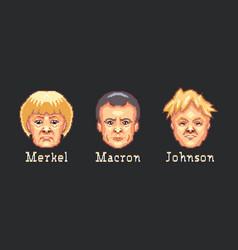 Pixel art portraits angela merkel emmanuel vector