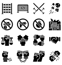 Protest related icon set 3 solid style vector