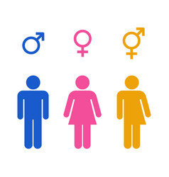 restroom and gender symbol various color vector image