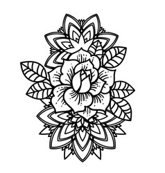 rose tattoo mystic symbol flower with string of vector image