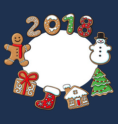 Round frame of christmas gingerbread cookies vector