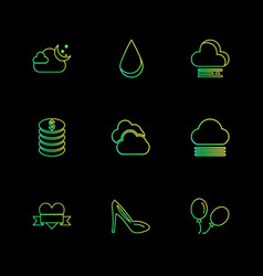 Sandal balloons coins ecology eco icons vector