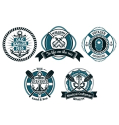 Seafarer and marine adventures emblems vector