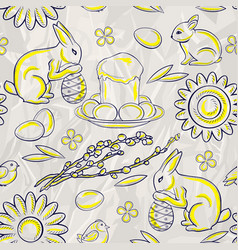 Seamless easter pattern on stylized background of vector