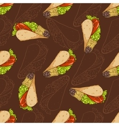 Seamless pattern scetch and color taco vector image