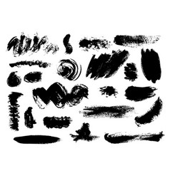 Set bushy different black brushstrokes vector