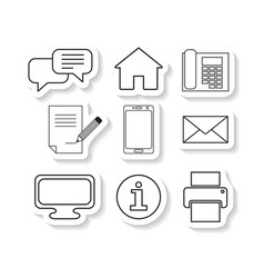 Set contacts message sticker icons vector