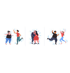 set fat obese people in different poses overweight vector image