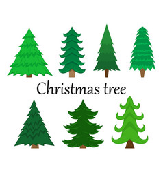 Set of 7 christmas trees without decoration vector