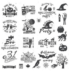 set of halloween party concept and design elements vector image