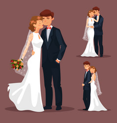 set of isolated married couple wedding vector image