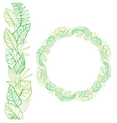 set of seamless border and round frame hand-drawn vector image