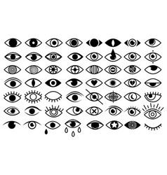 set stylized eyes for logos eye icon vector image