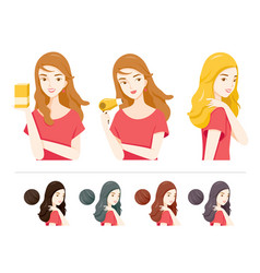 Set woman with hair dye and different color vector