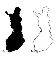 simple only sharp corners map finland drawing vector image