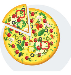 slice of round pizza with sausage vector image