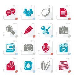 stylized chat application and communication icons vector image vector image