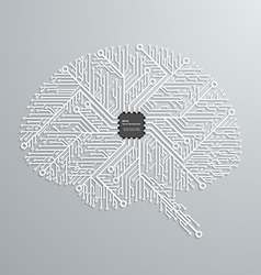 The brain in an electronic circuit with an vector image