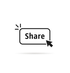 Thin line share button with black cursor vector
