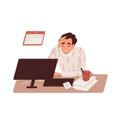 Tired sick man at work exhausted overworked vector
