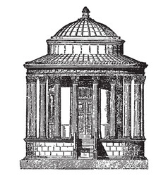 Tivoli a round temple at tivoli vintage engraving vector