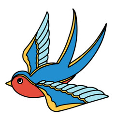 Traditional tattoo a swallow vector