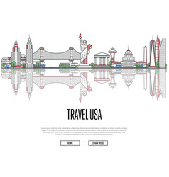 Travel tour to usa poster in linear style vector