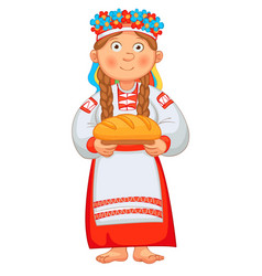 Ukrainian girl meets honored guests vector