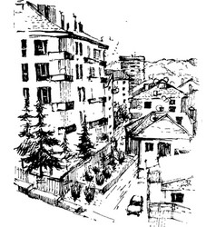 Urban landscapes in hand drawn ink line vector