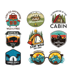 vintage camp logos mountain badges set hand vector image