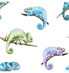 Watercolor pattern reptiles chameleon vector