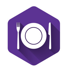 white plate fork and knife icon isolated with vector image