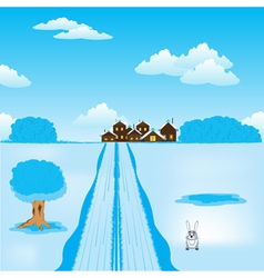 Winter road to settle vector image