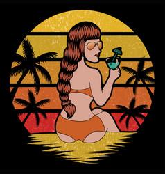 woman beach holiday retro vector image