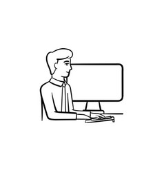 working guy hand drawn sketch icon vector image