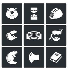 Beaver icons set vector image vector image